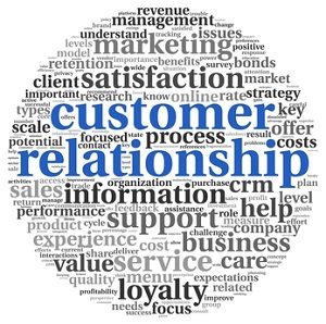 Customer relationship concept on white